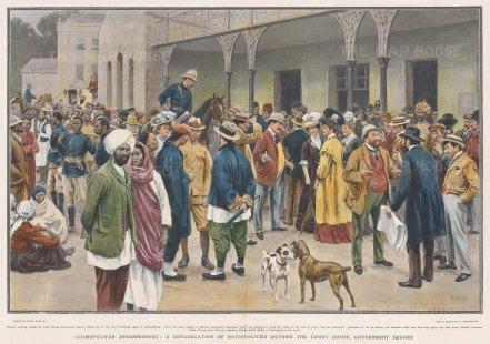 "Graphic Magazine: Court House and Government Square, Johannesburg. 1907. A hand coloured original antique photo-lithograph. 21"" x 14"". [AFRp1216]"