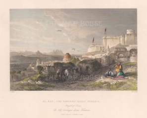 "Allom: El Kaf, Tunisia. c1840. A hand coloured original antique steel engraving. 7"" x 5"". [AFRp1243]"