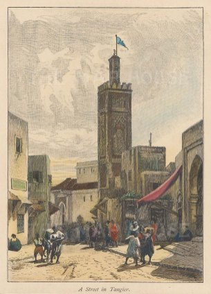 """Brown: Tangier, Morocco. 1885. A hand coloured original antique wood engraving. 4"""" x 6"""". [AFRp1255]"""