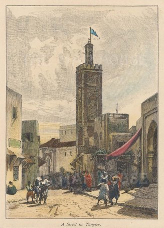 "Brown: Tangier, Morocco. 1885. A hand coloured original antique wood engraving. 4"" x 6"". [AFRp1255]"