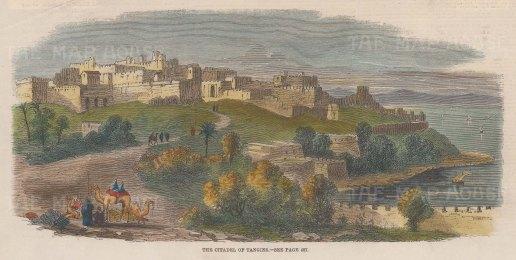 """Illustrated London News: Tangier, Morocco. 1859. A hand coloured original antique wood engraving. 10"""" x 5"""". [AFRp1270]"""