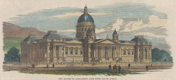 """Illustrated London News: Houses of Parliament. Cape Town. c1880. A hand coloured original antique wood engraving. 9"""" x 4"""". [AFRp1298]"""