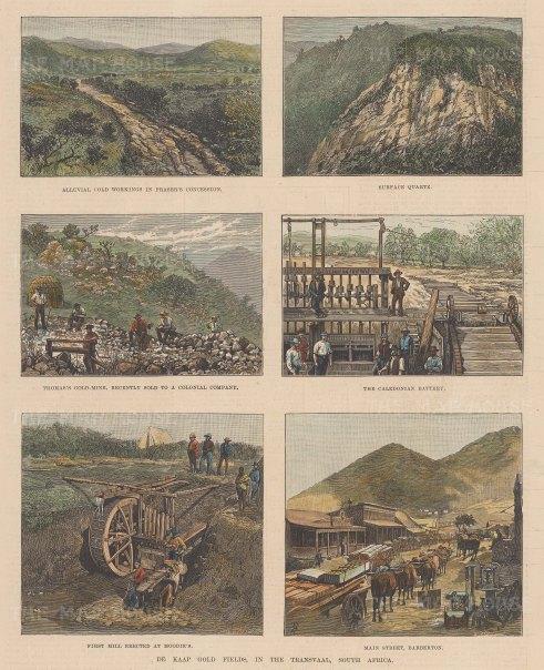 Gold Mining: Transvaal. Six views of the De Kaap Gold Fields
