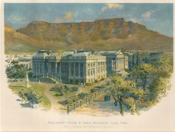 "Wilson: Parliament House, Cape Town. c1890. An original antique chromolithograph. 8"" x 6"". [AFRp1358]"