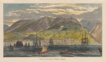 """Illustrated London News: Funchal, Madeira. 1879. A hand coloured original antique wood engraving. 7"""" x 5"""". [AFRp1364]"""