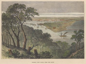 "Illustrated London News: Port Natal, Durban. c1860. A hand coloured original antique wood engraving. 7"" x 5"". [AFRp1365]"