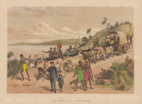 Botswana: Lake Ngami. View of the arrival of Dr Livingstone.