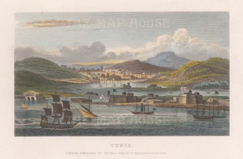 "Kelly: Tunis, Tunisia. c1840. A hand coloured original antique steel engraving. 8"" x 6"". [AFRp1369]"