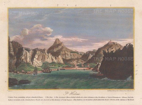 "Sherwood, Neely & Jones: Jamestown, St Helena. 1820. A hand coloured original antique copper engraving. 7"" x 5"". [AFRp1383]"