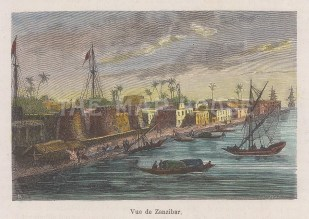 "Garnier: Zanzibar. 1876. A hand coloured original antique wood engraving. 5"" x 3"". [AFRp1421]"
