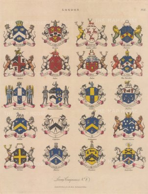 City Livery Arms. 20 arms of Livery companies including the Brewers and Bakers.
