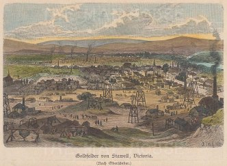 "Geiltbeck: Stawell, Victoria. 1897. A hand coloured original antique wood engraving. 5"" x 4"". [AUSp667]"