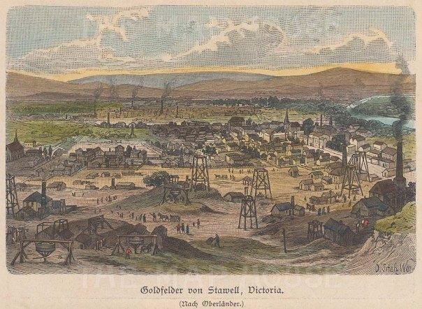 "Geiltbeck: Stawell, Victoria. 1897. A hand coloured original antique wood engraving. 5"" x 4"". [AUSp667]"