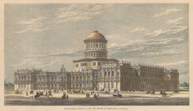 """Illustrated London News: Supreme Courts of Law, Melbourne. 1877. A hand coloured original antique wood engraving. 12"""" x 7"""". [AUSp675]"""