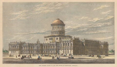 "Illustrated London News: Supreme Courts of Law, Melbourne. 1877. A hand coloured original antique wood engraving. 12"" x 7"". [AUSp675]"