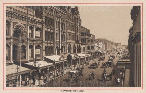 "Anonymous: George Street, Sydney. c1910. An original antique photo-lithograph. 5"" x 3"". [AUSp681]"