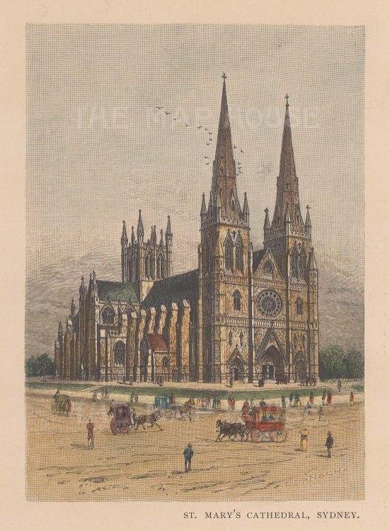"""Picturesque Australia: St. Mary's Cathedral, Sydney. 1886. A hand coloured original antique wood engraving. 5"""" x 7"""". [AUSp696]"""