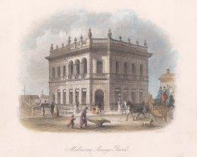"Booth: Melbourne's Savings Bank. c1873. A hand coloured original antique steel engraving. 8"" x 5"". [AUSp698]"