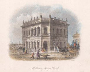 "Booth: Melbourne's Savings Bank. c1873. A hand coloured original antique steel engraving. 8"" x 5"". [AUSp698]"