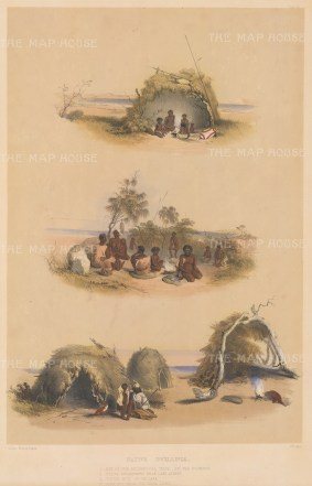"Angas: Dwellings of the Milmendura Tride. 1846. An original colour antique lithograph. 13"" x 18"". [AUSp717]"