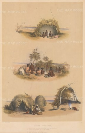 "Angas: Dwellings of the Milmendura Tride. 1846. An original colour antique lithograph. 13"" x 18"". [AUSp717]"