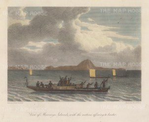 Torres Strait: Murray's Island (Mer) with Dauer and Waier to the left. After William Westall, artist on the HMS Investigator.