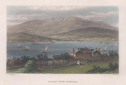 """Booth: Hobart Town, Tasmania. 1873. A hand coloured original antique steel engraving. 7"""" x 5"""". [AUSp744]"""