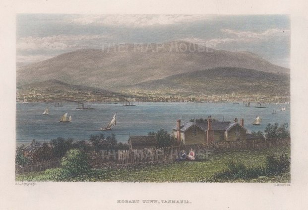 "Booth: Hobart Town, Tasmania. 1873. A hand coloured original antique steel engraving. 7"" x 5"". [AUSp744]"