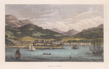 "Kelly: Hobart Town, Tasmania. 1836. A hand coloured original antique steel engraving. 7"" x 5"". [AUSp747]"