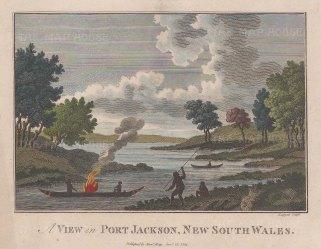 """Hogg: Sydney. 1794. A hand coloured original antique copper engraving. 7"""" x 5"""". [AUSp752]"""