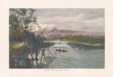 "Picturesque Australia: Adelaide. 1888. A hand coloured original antique wood engraving. 11"" x 7"". [AUSp763]"