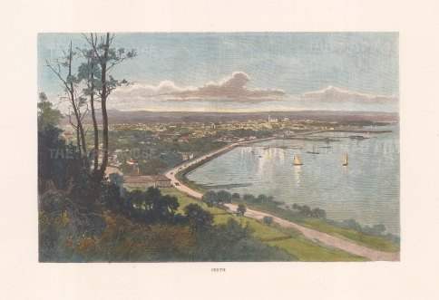 "Picturesque Australia: Perth. 1888. A hand coloured original antique wood engraving. 11"" x 7"". [AUSp766]"