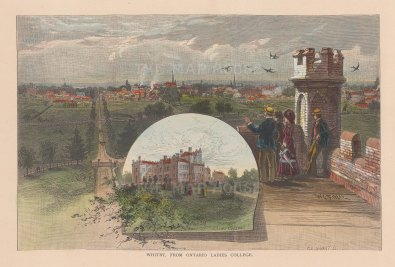 """Picturesque Canada: Whitby. 1867. A hand coloured original antique wood engraving. 10"""" x 7"""". [CANp522]"""