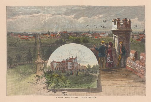 "Picturesque Canada: Whitby. 1867. A hand coloured original antique wood engraving. 10"" x 7"". [CANp522]"