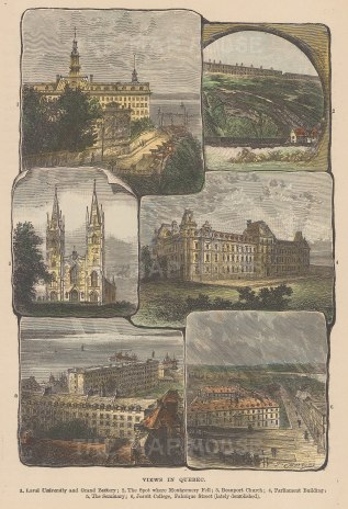 Six views: Laval University, Lower Town, Beauport Church, Parliament, Seminary, Jesuit College.