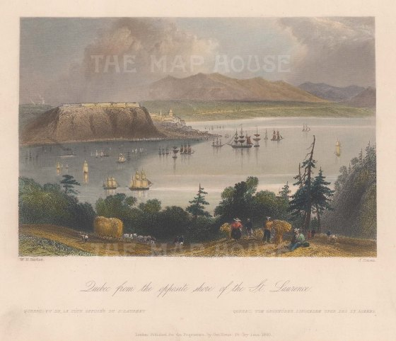 "Bartlett: Quebec. 1840. A hand coloured original antique steel engraving. 8"" x 7"". [CANp574]"