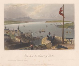 "Bartlett: Quebec. 1840. A hand coloured original antique steel engraving. 8"" x 7"". [CANp586]"
