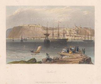 """Bartlett: Quebec. 1840. A hand coloured original antique steel engraving. 8"""" x 7"""". [CANp588]"""