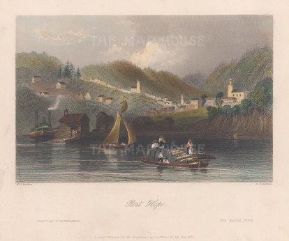 "Bartlett: Port Hope. 1841. A hand coloured original antique steel engraving. 8"" x 7"". [CANp592]"