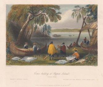 "Bartlett: Papper's Island, Ottawa River. 1841. A hand coloured original antique steel engraving. 8"" x 7"". [CANp600]"