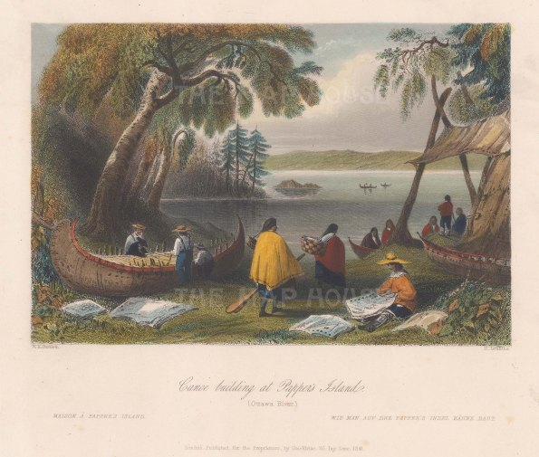 "Bartlett: Papper's Island, Ottawa River. 1841. A hand coloured original antique steel engraving. 8"" x 7"". [CANp600]"