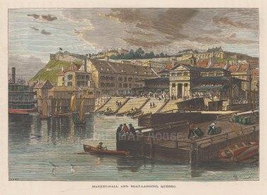 """Picturesque Canada: Quebec. c1867. A hand coloured original antique wood engraving. 9"""" x 7"""". [CANp604]"""