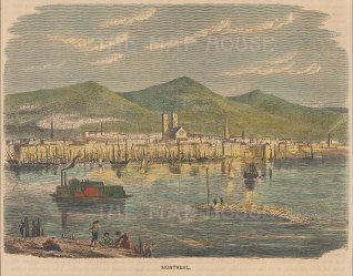 """Brown: Montreal. 1886. A hand coloured original antique wood engraving. 6"""" x 5"""". [CANp630]"""
