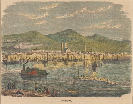 "Brown: Montreal. 1886. A hand coloured original antique wood engraving. 6"" x 5"". [CANp630]"
