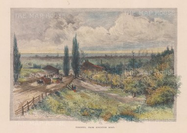 """Picturesque Canada: Toronto. 1867. A hand coloured original antique wood engraving. 9"""" x 6"""". [CANp668]"""