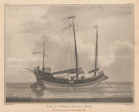 """Charnock: Chinese Junk. 1802. An original antique copper engraving. 11"""" x 10"""". [CHNp1020]"""