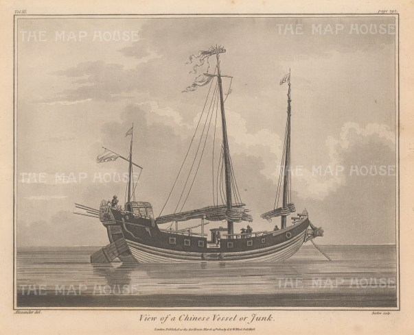 """Charnock: Chinese Junk. 1802. An original antique Aquatint with etching. 11"""" x 10"""". [CHNp1020]"""