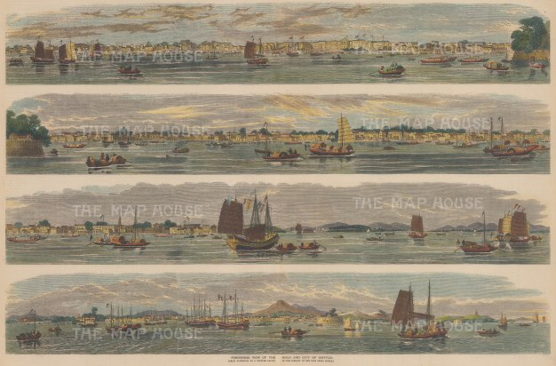 """Illustrated Times: Guangzhou (Canton). 1857. A hand coloured original antique wood engraving. 20"""" x 13"""". [CHNp1053]"""
