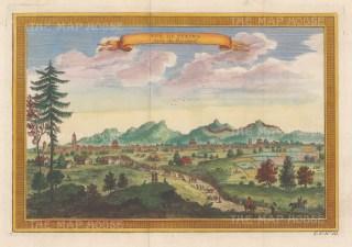 Peking: Panoramic view after the 17th century Dutch explorer Johan Nieuhoff.