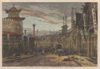 "Illustrated London News: Beijing (Peking). 1866. A hand coloured original antique wood engraving. 13"" x 9"". [CHNp1082]"